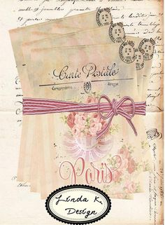 Paris Tea PrintableColllage SheetDigital by lindakdesign on Etsy, $4.59