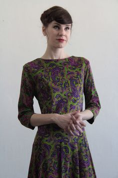 7dd4a742bc24 Vintage Paisley Dress 1960s Mod Purple and Green by VeraVague