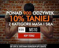 Odżywki, suplementy, akcesoria treningowe z 10% zniżką! Kategoria 'MASA I SIŁA' http://www.kulturystyka.sklep.pl/Masa-i-sila,c1001.html - od 22 do 24.08.2016r. W podsumowaniu zamówienia dopisz kod promocyjny MS10  #kodrabatowy #kodpromocyjny #newsletter #kulturystyka_sklep #shop #gliwice #masa #siła #muscle #protein #gain #amino #bcaa #gym #bodybuilding #fintess