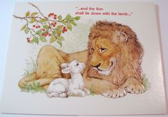 Vintage Greeting Card Christmas LK Powell Linda K Powell Embossed Lion & Lamb