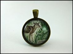 Postage Stamp Pendant / Deer in Ferns / Ivory Coast by OhThePost, $30.00