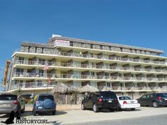 """The Waikiki Oceanfront Inn in Wildwood Crest, NJ. Built in 1969, it has a Polynesian theme, which was popular during the Doo Wop era. The Wildwoods have been credited with having the largest collection of mid-century commercial (or """"Doo Wop"""") architecture in the nation, taking the form of 1950s-era resort motels, diners, restaurants, and vintage neon signs. Discover more history @ www.thehistorygirl.com"""