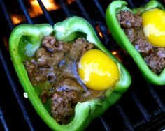 #BBQ grilled #paleo stuffed peppers with #beef & #egg    http://www.cavemanbob.com/blogs/blog/6144340-recipe-grilled-bbq-peppers-with-egg-and-beef