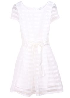 White Short Sleeve Striped Belt Bandeau Dress