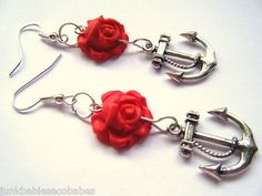 Rockabilly Tattoo Pin Up Sailor Red Carved Rose And Anchor Dangle Earrings | eBay