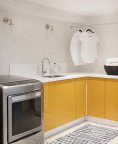 Mustard yellow cabinets