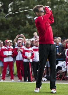 Crown Prince Frederik of Denmark makes his shot at the 1st hole prior to the Pro-Am at Himmerland Golf & Spa Resort on 13.08.2014 in Aalborg, Denmark