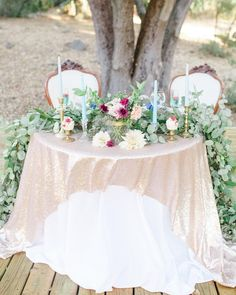 There are so many things I love about this sweetheart table. The fresh green garland, the glitter overlay, the blue champagne and the his… Bridal Party Tables, Wedding Table Decorations, Nature Inspired Wedding, Green Garland, Sweetheart Table, History Museum, The Fresh, Fresh Green, Wedding Day