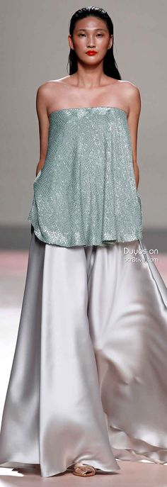 Duyos Spring 2014 #MBFW Madrid...Great silhouette, a blank canvas to create your 'dream wedding pantsuit. Ask your seamstress for embellishments suggestions that fit your style.