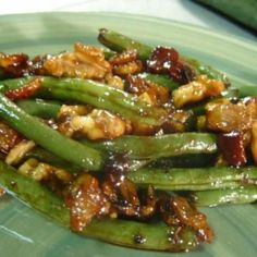 Bacon-Walnut Green Beans Recipe--add some dried cranberries & feta crumbles for a twist of flavor. Side Dish Recipes, Vegetable Recipes, Green Bean Recipes, Beans Recipes, Cooking Recipes, Healthy Recipes, Drink Recipes, Delicious Recipes, Great Recipes