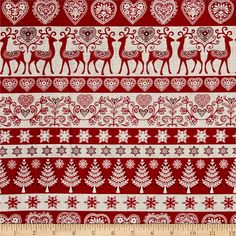 Scandi 3 Stripe Red from @fabricdotcom  Designed by The Henley Studio for Makower UK, this festive cotton print is perfect for quilting, apparel, and home decor accents. Colors include red and white.