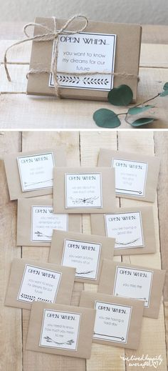 """I had a talented reader create some adorable """"Open When"""" labels using my graphics. She linked to me using her Pinterest account (HERE), and it went viral! I have had several emails from people asking"""