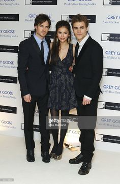 Ian Somerhalder, Nina Dobrev and Paul Wesley attend the Grey Goose Character & Cocktails winter fundraiser in aid of the Elton John AIDS Foundation at The Grosvenor House Hotel on December 13, 2009 in London, England.