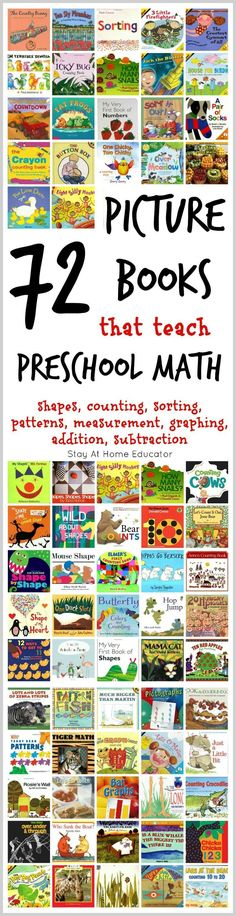 72 of the Absolute Best Math Picture Books for Kids - Teaching math to preschoolers doesn't have to be difficult.These 72 books use literature to teach math concepts to preschoolers in an organic, enjoyable way! Math Books, Preschool Books, Preschool Learning, Kindergarten Math, Book Activities, Kid Books, Kids Math, Montessori Preschool, Montessori Elementary