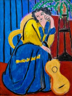 'Girl in Yellow and Blue with Guitar' - Henri Matisse - Art Institute of Chicago Henri Matisse, Matisse Kunst, Matisse Art, Raoul Dufy, Art And Illustration, Illustrations, Pablo Picasso, Matisse Pinturas, Art Fauvisme