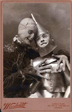 The Scarecrow and Tin Man from the first stage adaptation of The Wizard of Oz, 1902, Chicago.