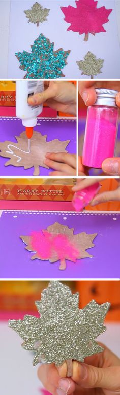 Glitter Leafs | DIY Fall Crafts for Teens to Make | Easy Thanksgiving Crafts for Kids to Make