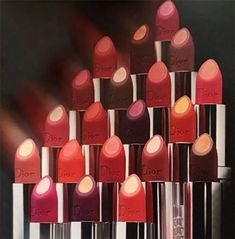 Dior Double Rouge Lipstick Collection launches at the end of August 2017 in a range of 12 colors, combining two makeup trends: matte and metal. Matte Lipstick Shades, Best Lipstick Color, Dior Lipstick, Dior Makeup, Best Lipsticks, Lipstick Swatches, Lipstick Colors, Makeup Cosmetics, Lip Colors
