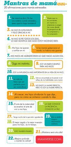 Mantras de mamá 20 afirmaciones para mamás estresadas-Inforgraphic