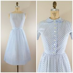 1950s L'Aiglon Dress with Jacket • Blue and White Checkered Dress • Vintage 50s Dress • Small