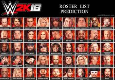 WWE 2k18 Roster List