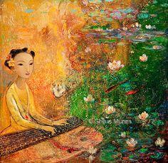 """Zen Garden"" oil on canvas 30x30  2010 © Shijun Munns   #Art #OilPaintings #painting #artwork #originalart #artist #homedecor #wallart #gallery #exhibit #create #collection #womenart Spiritual Garden, Original Paintings, Original Art, Painted Doors, Serenity, Oil On Canvas, Zen, Art Photography, China"