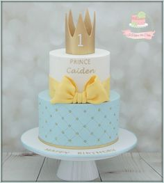 Prince birthday - Cake by Jo Finlayson (Jo Takes the Cake) Prinz Geburtstag - Kuchen vo Toddler Birthday Cakes, Boys First Birthday Cake, Homemade Birthday Cakes, First Birthday Cakes, Birthday Pins, Baby Boy Cakes, Cakes For Boys, Torta Angel, Prince Birthday Theme