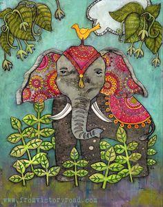 """Boho Elephant"" mixed media style!"