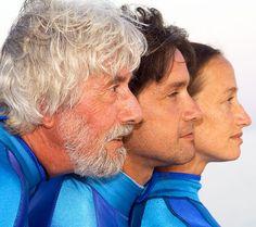 Jean-Michel Cousteau posing with his son Fabien Cousteau and his daughter, Céline Cousteau