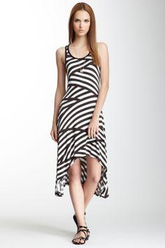 American Twist Striped Hi-Lo Tank Dress