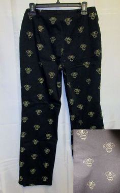 DFA Christmas Pants 8 28x30 Bow Ornament Gold Embroidered Gr8 Ugly Sweater Party #DFANewYork #CasualPants