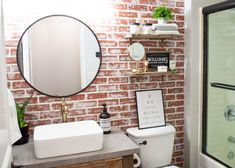 think too much white is on a brick – use your putty knife to wipe some away. You really can't mess up, just have fun with it! Kitchen Backsplash Designs, Brick Accent Walls, Faux Walls, Diy Faux Brick Wall, Diy Bathroom Remodel, Brick Kitchen, Rustic Bathrooms, Guest Bathroom Small, Fireplace Wall
