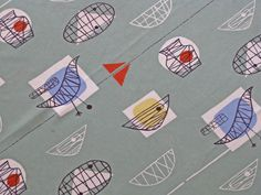 Mint Bird Chair fabric by Marion Mahler collectible postwar British textile.