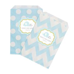"Blue Elephant Chevron & Dots Goodie Bags (set of 12). Looking for a cute way to package gifts or treats? Our Blue Elephant Chevron & Dots Goodie Bags are the cutest and most versatile favor bags. Whether you're filling them with jewelry, candy, or baked goods, these bags are the perfect embellishment for your stylish baby shower welcoming your baby boy. You can also lay them out at a candy buffet table for a decorative ""pack your own"" goodie bag.  Due to the personalization for this…"