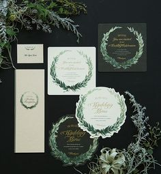 ナチュラルリーフ Crazy Wedding, Chic Wedding, Wedding Table, Olive Wedding, Green Wedding, Wedding Flowers, Wedding Invitation Sets, Wedding Stationary, Invite