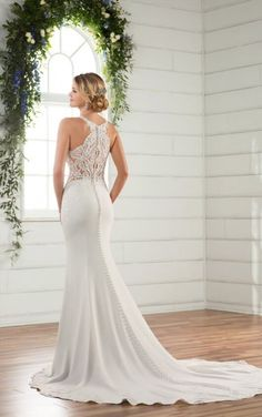 D2326 Sheer Beach Wedding Dress by Essense of Australia