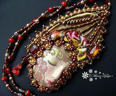 Bead embroidered Pendant LADY necklace Shibori silk by MaewaDesign