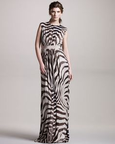 Zebra-Print Jersey Gown by Giambattista Valli at Neiman Marcus.