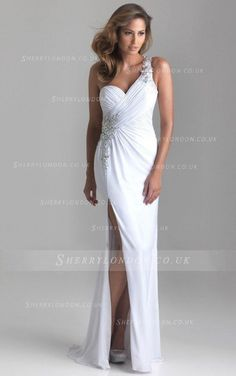 Backless Chiffon One Shoulder Beaded Sheath/Column Natural Evening Dresses-1