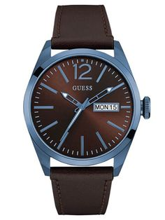 Guess Men's Brown Leather Band With Brown Analog Dial Watch New In Box Cute Watches, Watches For Men, Vrai Gentleman, Mens Trends, Gents Watches, Nyc, Brown Leather, Glamour, Vertigo