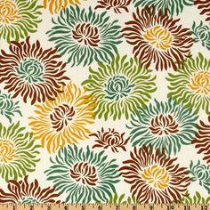 Heather Bailey Freshcut Laminated Cotton Graphic Mums Brown
