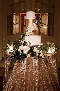 Glamorous gold wedding cake table; via Earth and Sugar                                                                                                                                                                                 More
