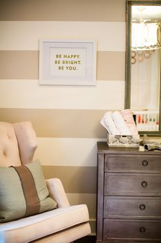 Project Nursery - Contemporary Eclectic Girl Nursery Striped Wall. Love the green as a nice accent color