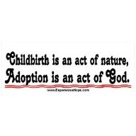 Childbirth is an act of nature.  Adoption is an act of God.