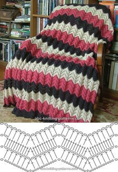 Pink ripple afghan, free pattern from ABC Knitting. Written pattern with several photos on their site.