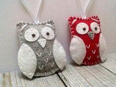 Christmas Owl ornament, Red Owl ornament, Wool felt owl ornament, Owl decoration, Owl holiday decor, Xmas ornament, tree decoration