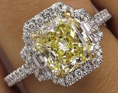 GIA 2.51ct Estate Vintage Fancy Yellow Radiant Diamond Engagement Wedding Platinum Ring Halo