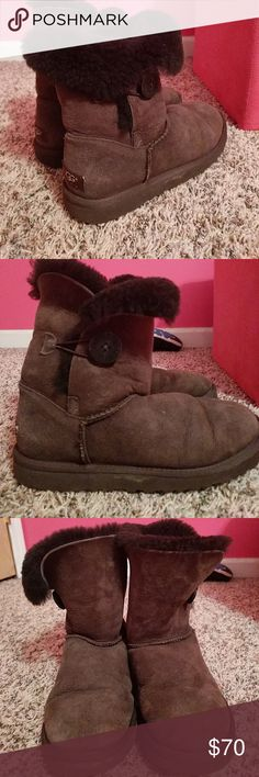 Brown Bailey button Uggs They have been worn multiple times! But they are still in good condition. They are starting to flare, but I have noticed all of the Bailey button ones do that. UGG Shoes Winter & Rain Boots