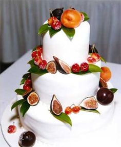 Fall Color Theme Wedding Cake with Fruits on Top