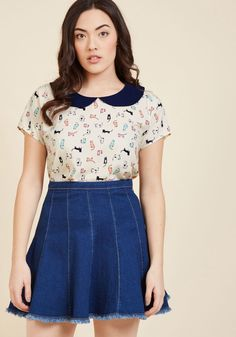 <p>This beige top is more than a garment - it's a riveting lesson on the reimagination of timeless pieces! Taking a traditional navy Peter Pan collar and situating it atop a quirky, ModCloth-exclusive pattern of colorful kitties, this classic-meets-quirky piece indulges your love of unexpected touches.</p>